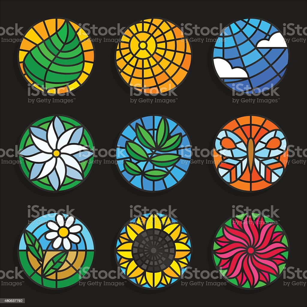 Set of stained glass summer icons - Stock vector illustration. vector art illustration