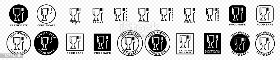 istock Set of stamps. Labeling - not food grade or non food grade materials. Glass and fork flat icon stamp set. Vector grouped elements. 1307742154