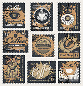 Vector set of postage stamps on the theme of coffee in retro style with abstract spots and rubber stamps
