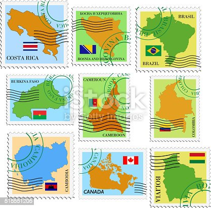 set of vector stamps with national flags and maps