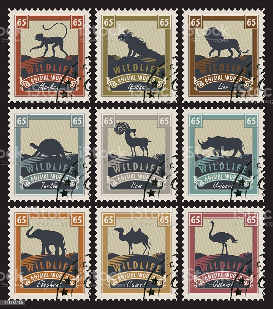 set of stamps with different animals ベクターアートイラスト