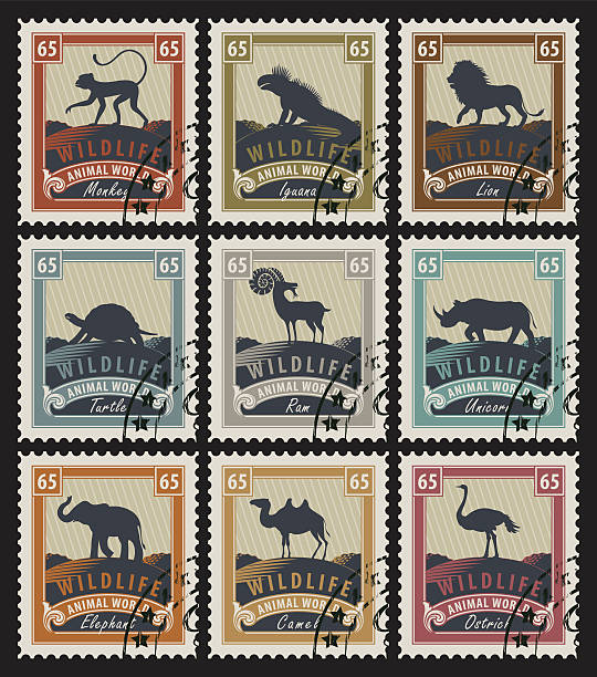 set of stamps with different animals - 野生動物旅行点のイラスト素材/クリップアート素材/マンガ素材/アイコン素材