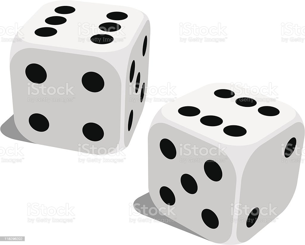 A set of standard lucky dice isolated on white vector art illustration