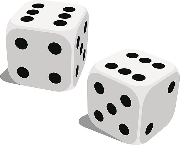 a set of standard lucky dice isolated on white - dice stock illustrations, clip art, cartoons, & icons