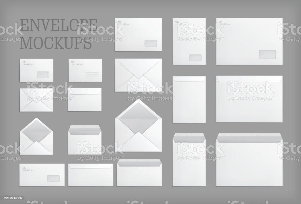 Set of standard vector envelopes. vector art illustration