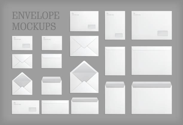 set of standard vector envelopes. - stationery templates stock illustrations