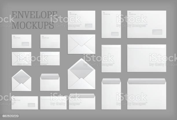 Set of standard white paper envelopes for office document or message. Vector empty mockups. White empty mail envelope with transparent window. Full and folded A4 size. Illustration on gray background