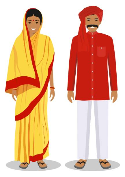 008ed06de Set of standing together indian man and woman in the traditional clothing  isolated on white background