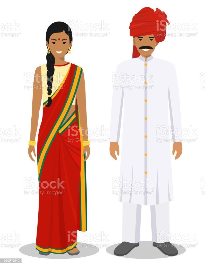 ilustración de conjunto de pie juntos indio hombre y mujer en la