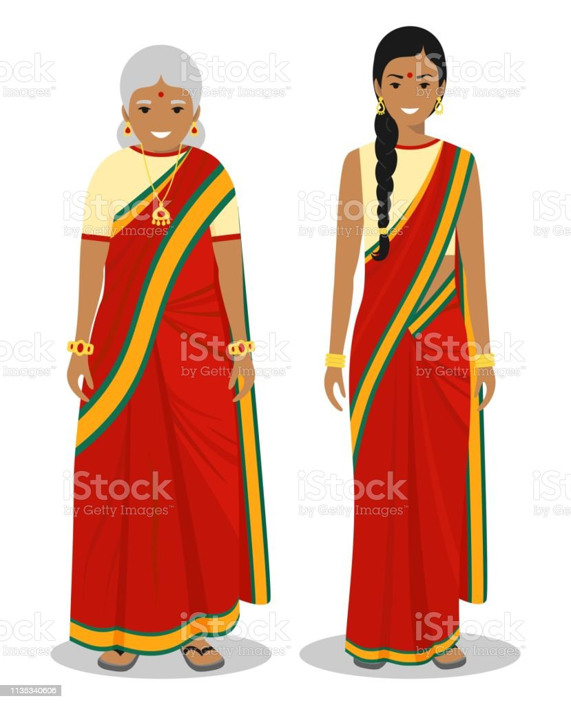 9d140591f7 Set of standing together old and young indian woman in the traditional  clothing isolated on white