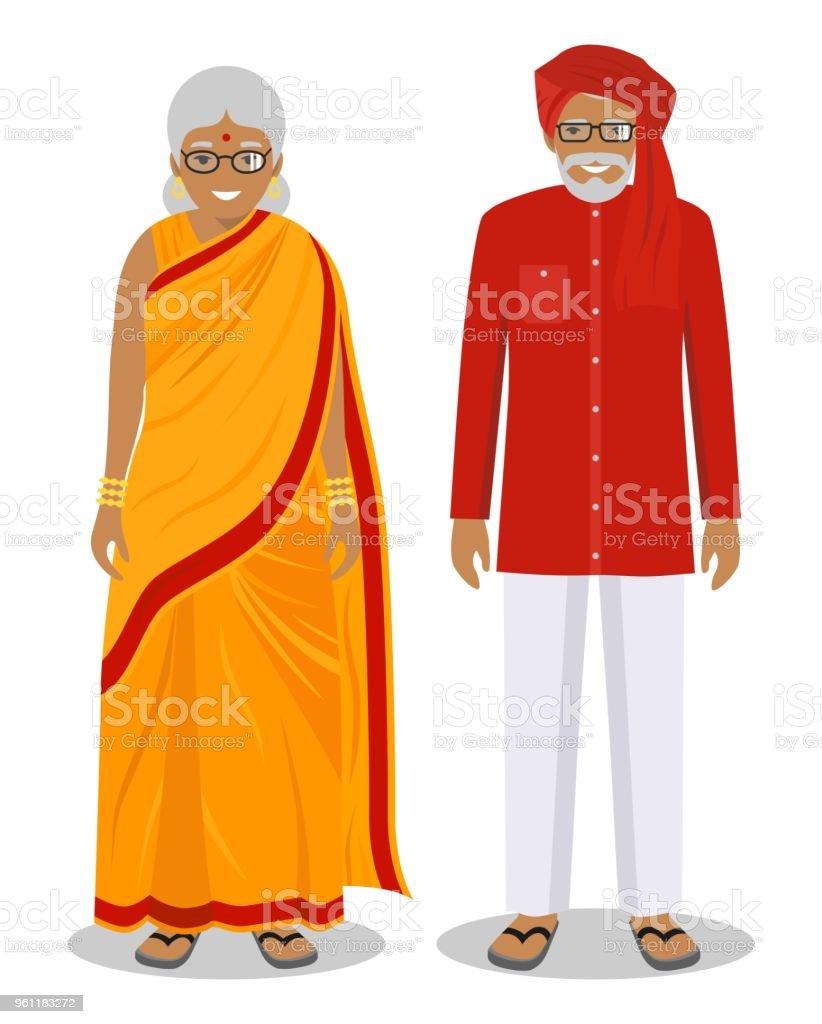 ilustración de conjunto de pie juntos indio anciano y la mujer en la