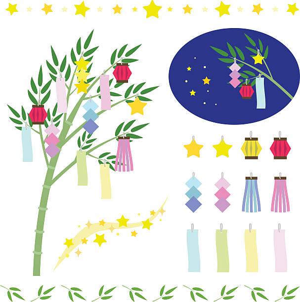 一連の星飾り-七夕祭り - 七夕点のイラスト素材/クリップアート素材/マンガ素材/アイコン素材