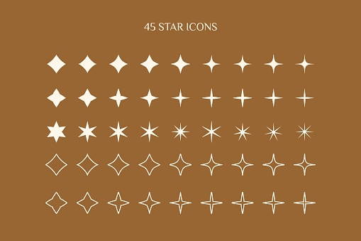 A set of Star icons in a minimalistic simple and linear style. Vector Sparkle Sign, Twinkle, Shiny, Glowing light effect.