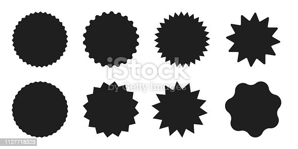 Set of star shaped round sale tags, labels and stickers