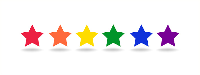 Set of stars in rainbow color on white. Decorative geometric elements with shadows.