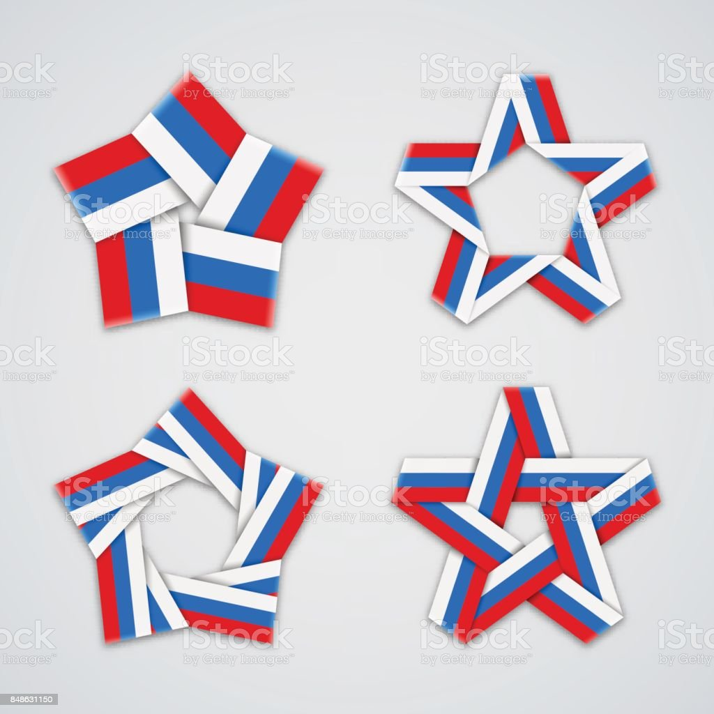 b3e57872231 Set of stars made of ribbon with russian flag colors. Vector tricolor  symbol design.