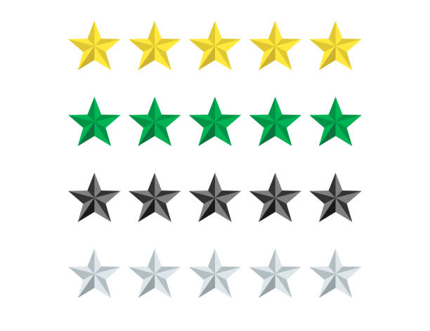 illustrazioni stock, clip art, cartoni animati e icone di tendenza di set of stars rate in yellow, green, grey and black colors. review or vote evaluation rank. five stars for quality. excellent ranking. top rank of satisfaction. isolated icons. vector eps 10. - banchi scuola