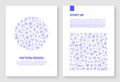 Set of Start Up Related Icons Vector Pattern Design for Brochure,Annual Report,Book Cover.