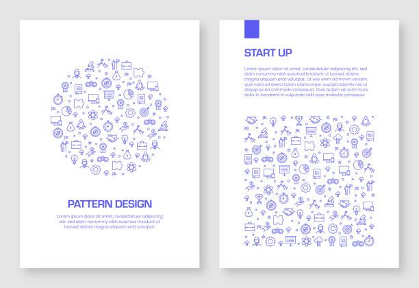 ilustrações, clipart, desenhos animados e ícones de jogo do projeto relacionado do teste padrão dos ícones do começo acima para o folheto, relatório anual, tampa de livro. - entrepreneurship