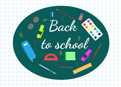 Set of stationary for school, back to school concept, education concept, flat vector illustration