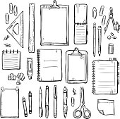set of stationery drawings. Vector illustration.