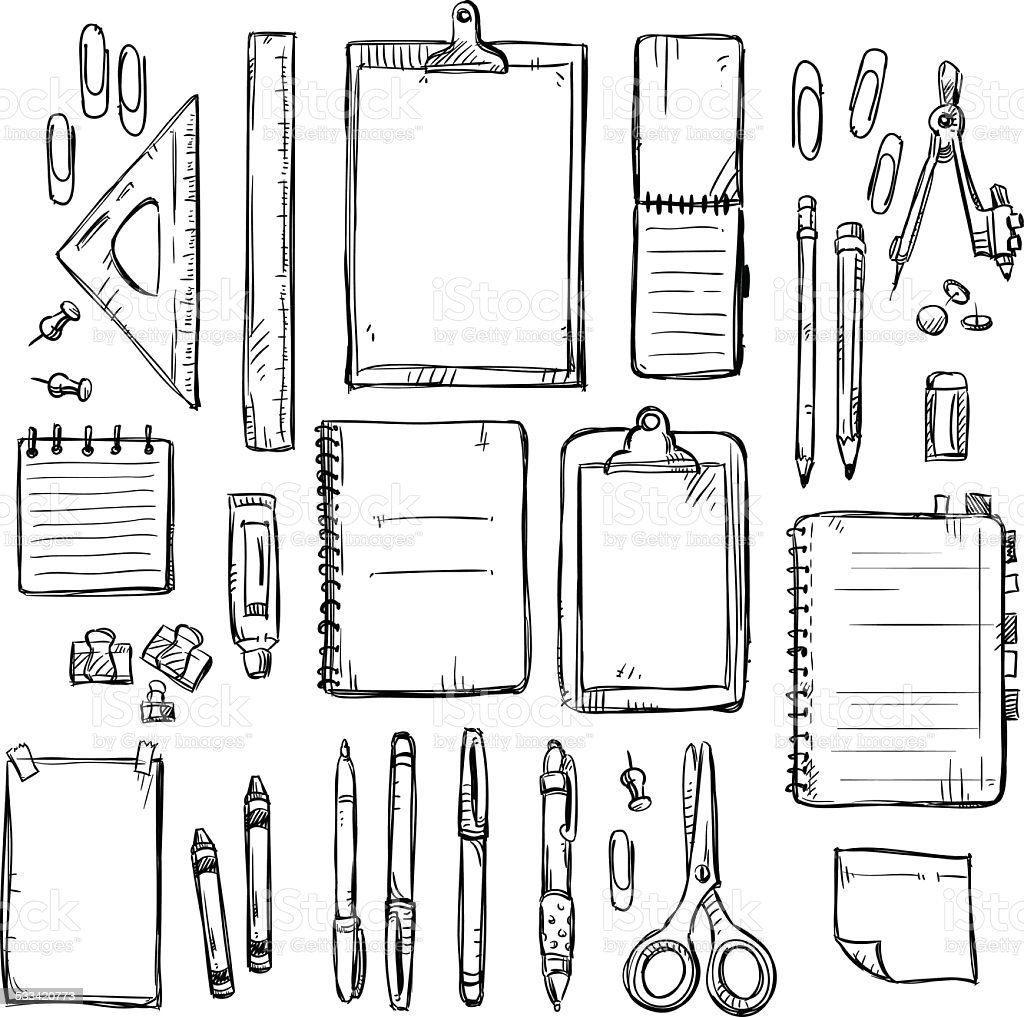 set of stationery drawings. Vector illustration. vector art illustration