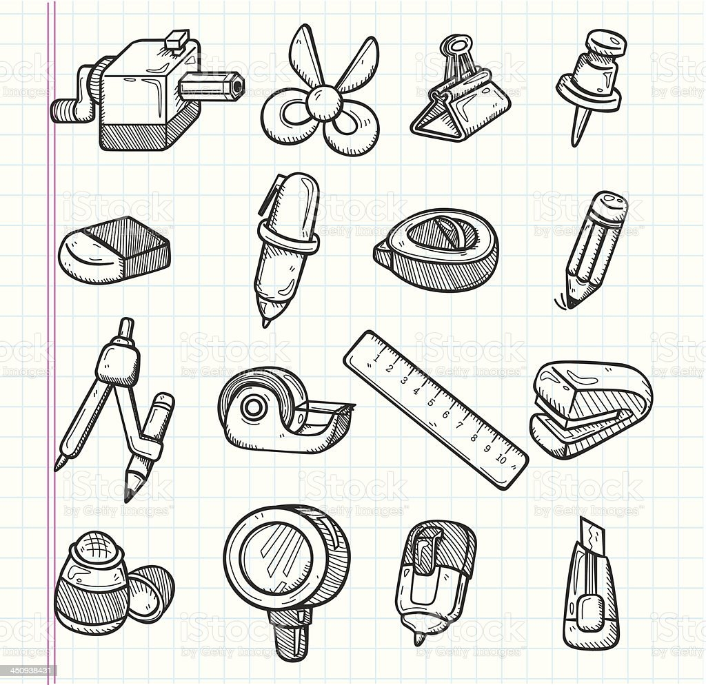 set of stationery icons vector art illustration