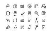 Set of Stationery related objects and elements. Hand drawn vector doodle illustration collection. Hand drawn icon set.