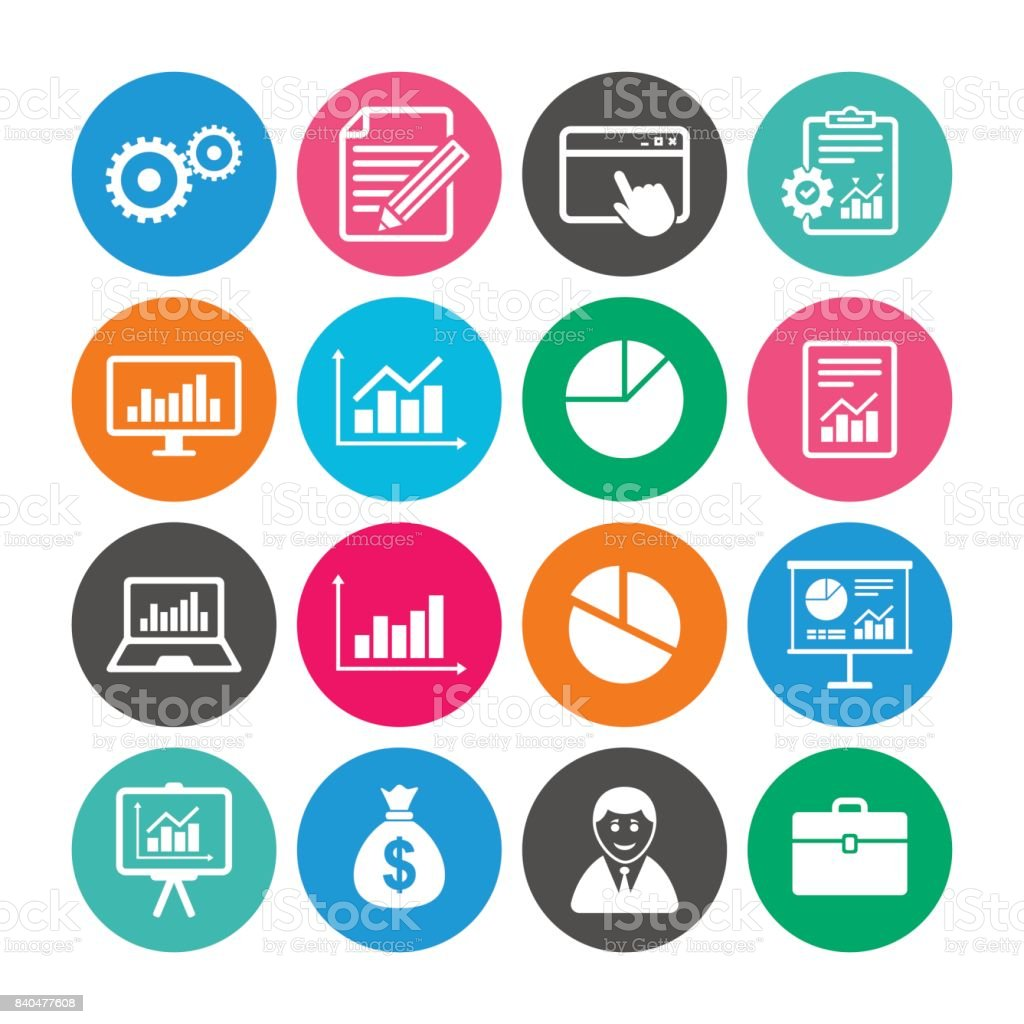 Set of Statistics, Accounting and Report icons. vector art illustration