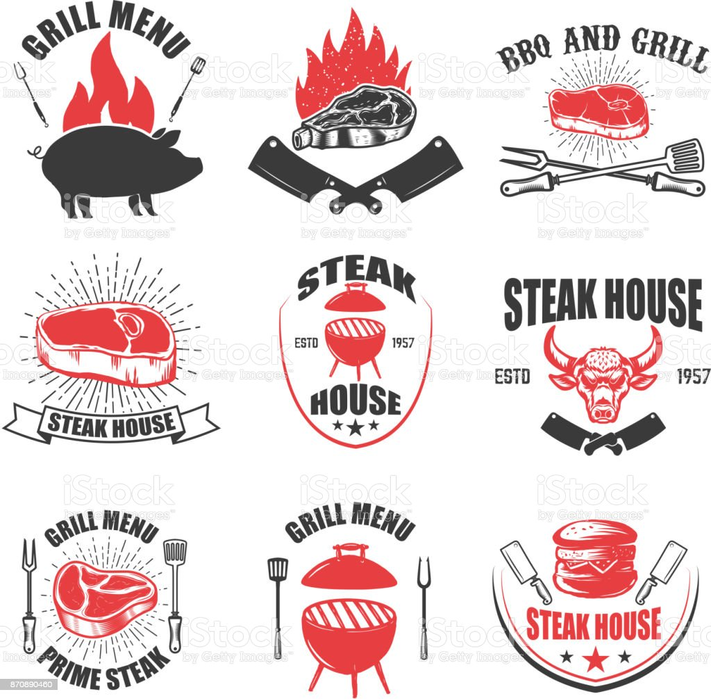 Set of steak house emblems. BBQ and grill. vector art illustration