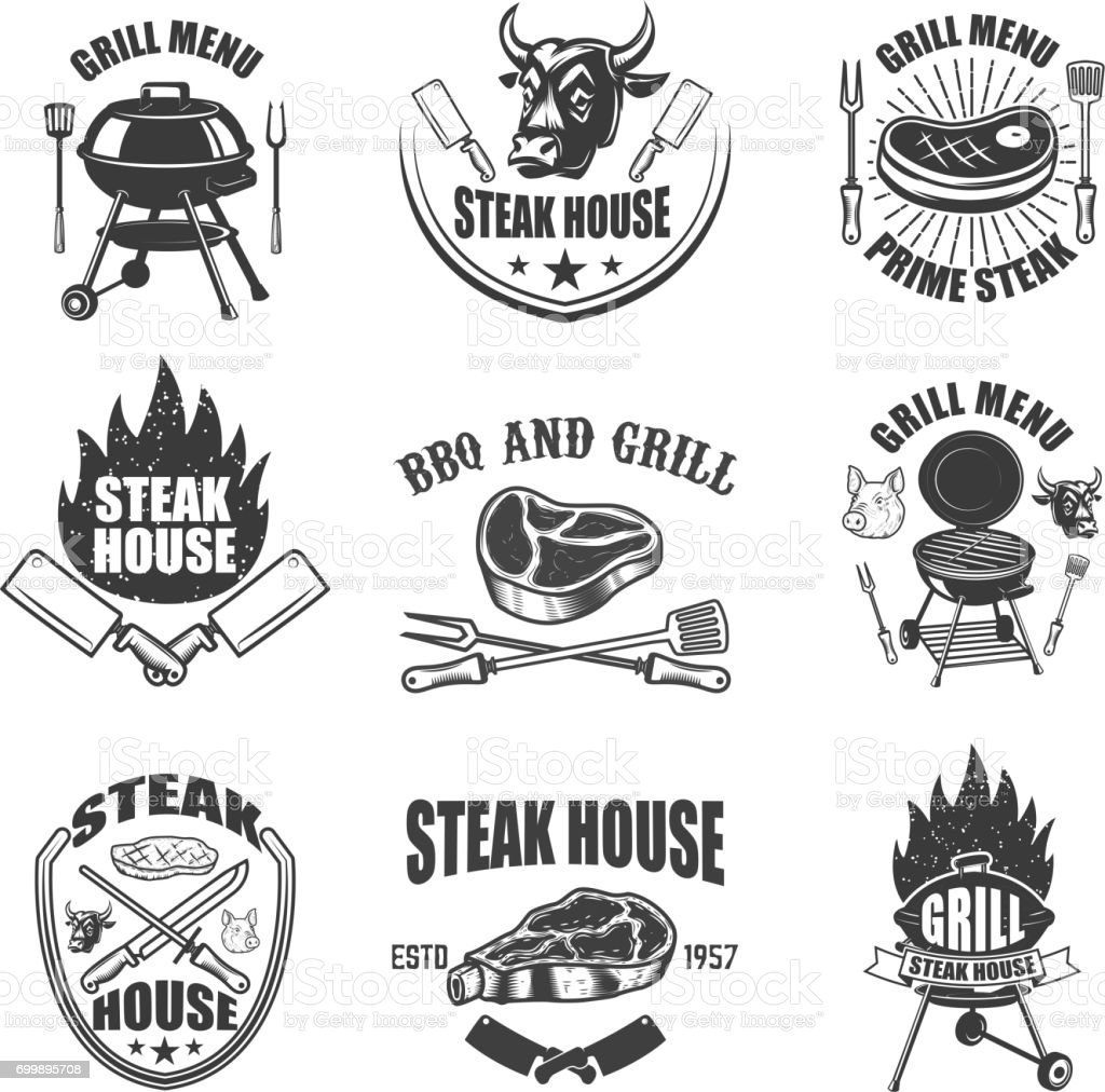 Set of steak house labels. BBQ, butcher tools, bull heads. Design elements for badge, emblem, sign, restaurant menu, flyer. Vector illustration vector art illustration