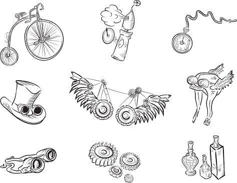 Set of steampunk items outlined in black on white background