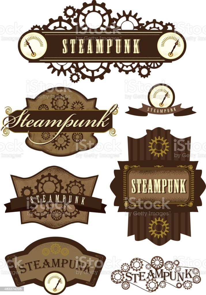 set of steampunk labels stock vector art amp more images of