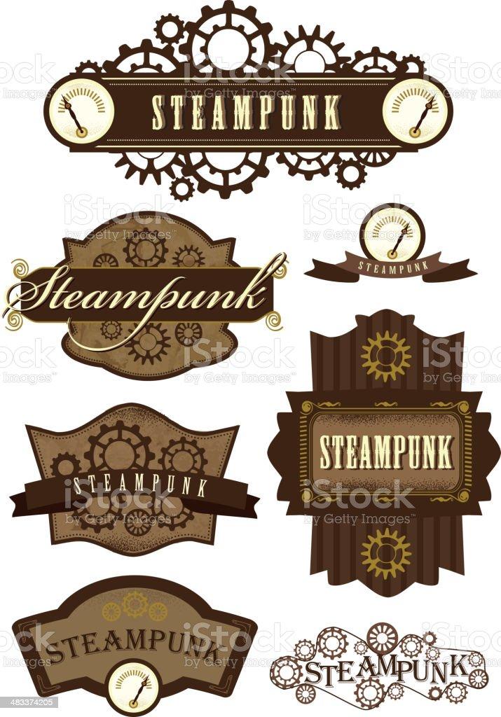 Set of steampunk labels vector art illustration
