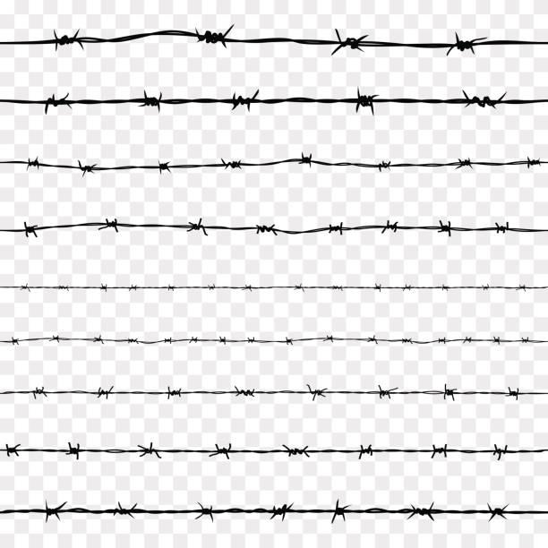 Conjunto de patrones sin fisuras oxidado alambre de púas de acero - ilustración de arte vectorial