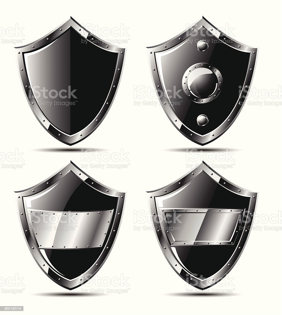 Set of steel shields isolated on white royalty-free set of steel shields isolated on white stock vector art & more images of black background