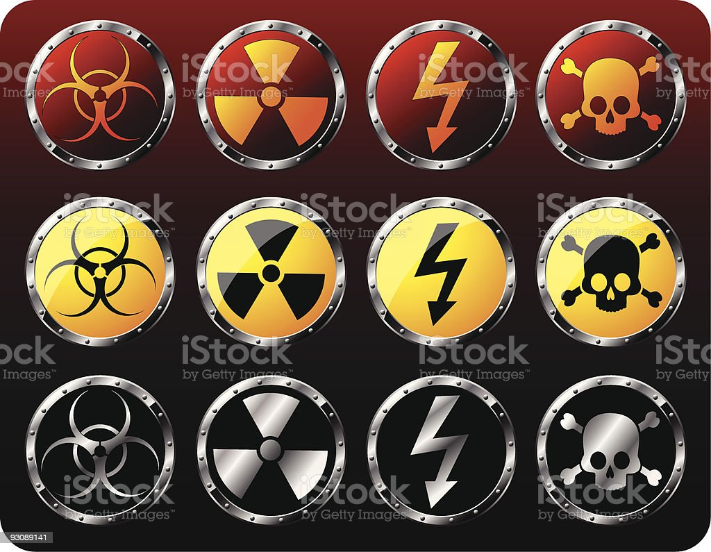 Set of steel shields with warning symbols royalty-free stock vector art