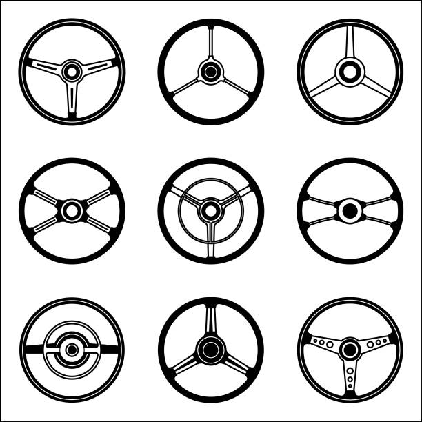 Set of steering wheel vector icon Steering wheel illustrations of cars with various types steering wheel stock illustrations