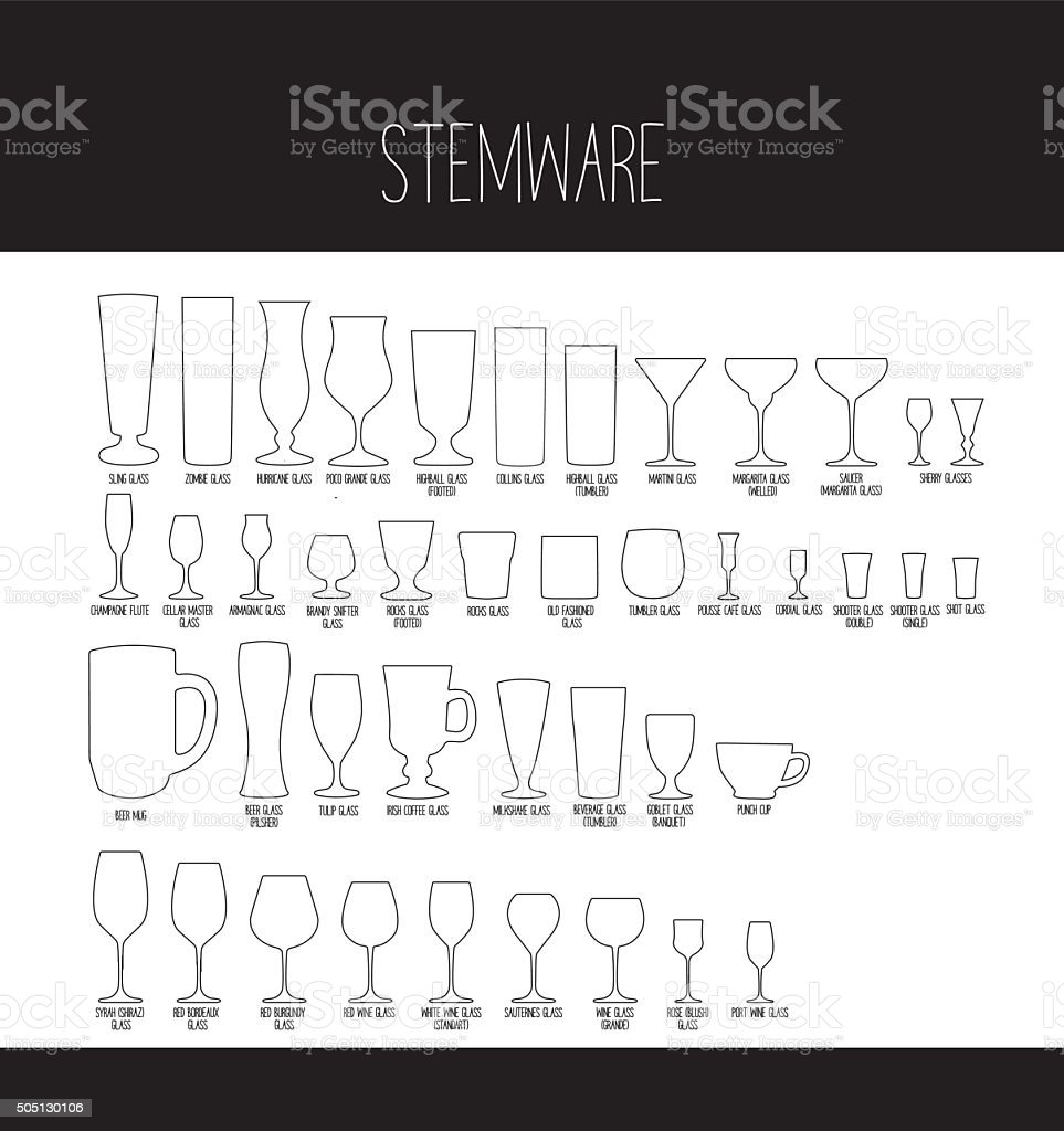 Set of Stemware vector art illustration
