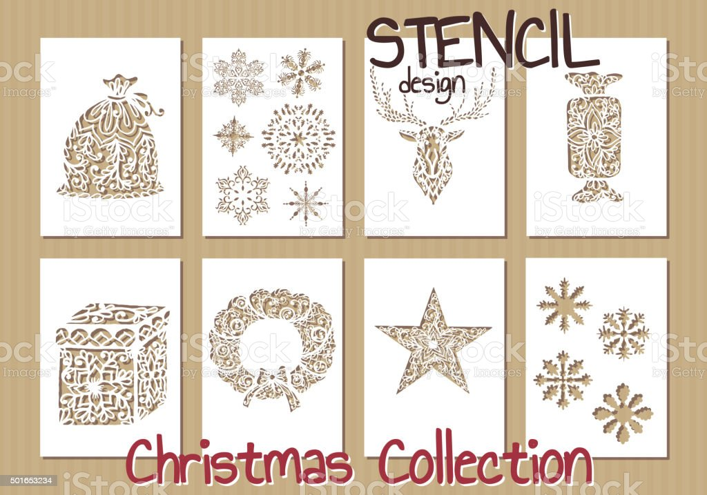 Set of Stencil design templates. Christmas collection