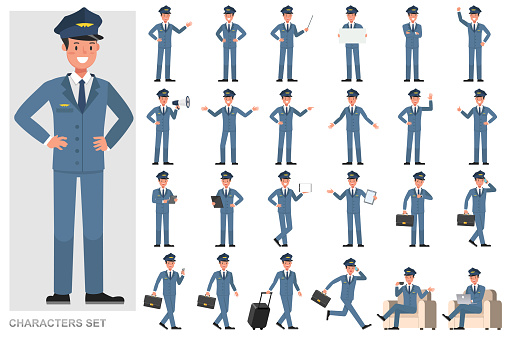 Set of Steward Man character vector design. Presentation in various action with emotions, running, standing and walking.