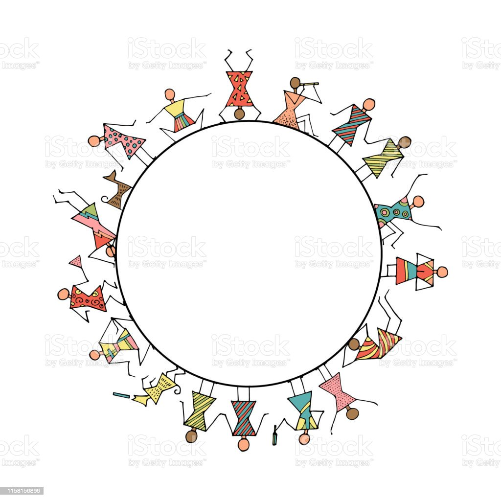 Set of stick figures in a circle. People lifestyle. Cartoon icons...