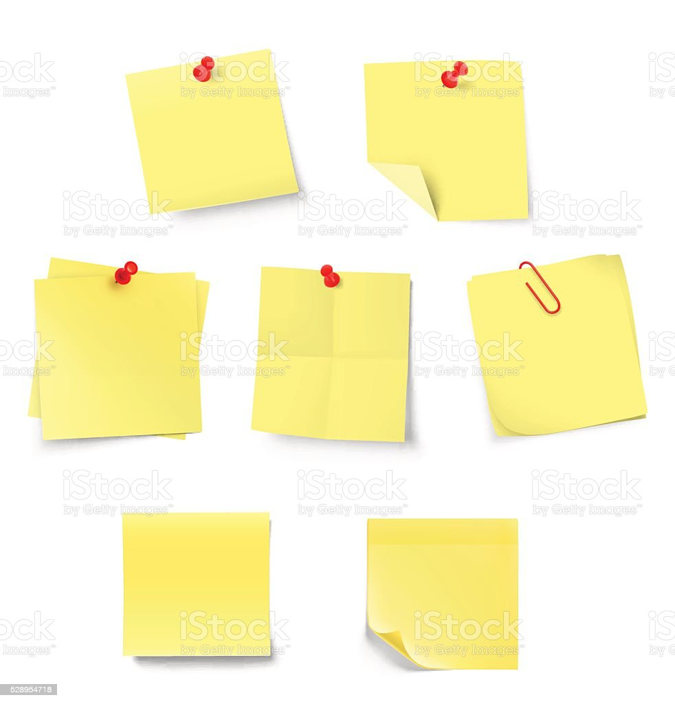 Set of stick notes isolated on white background. vector art illustration