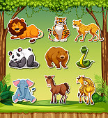 Set of sticker background illustration