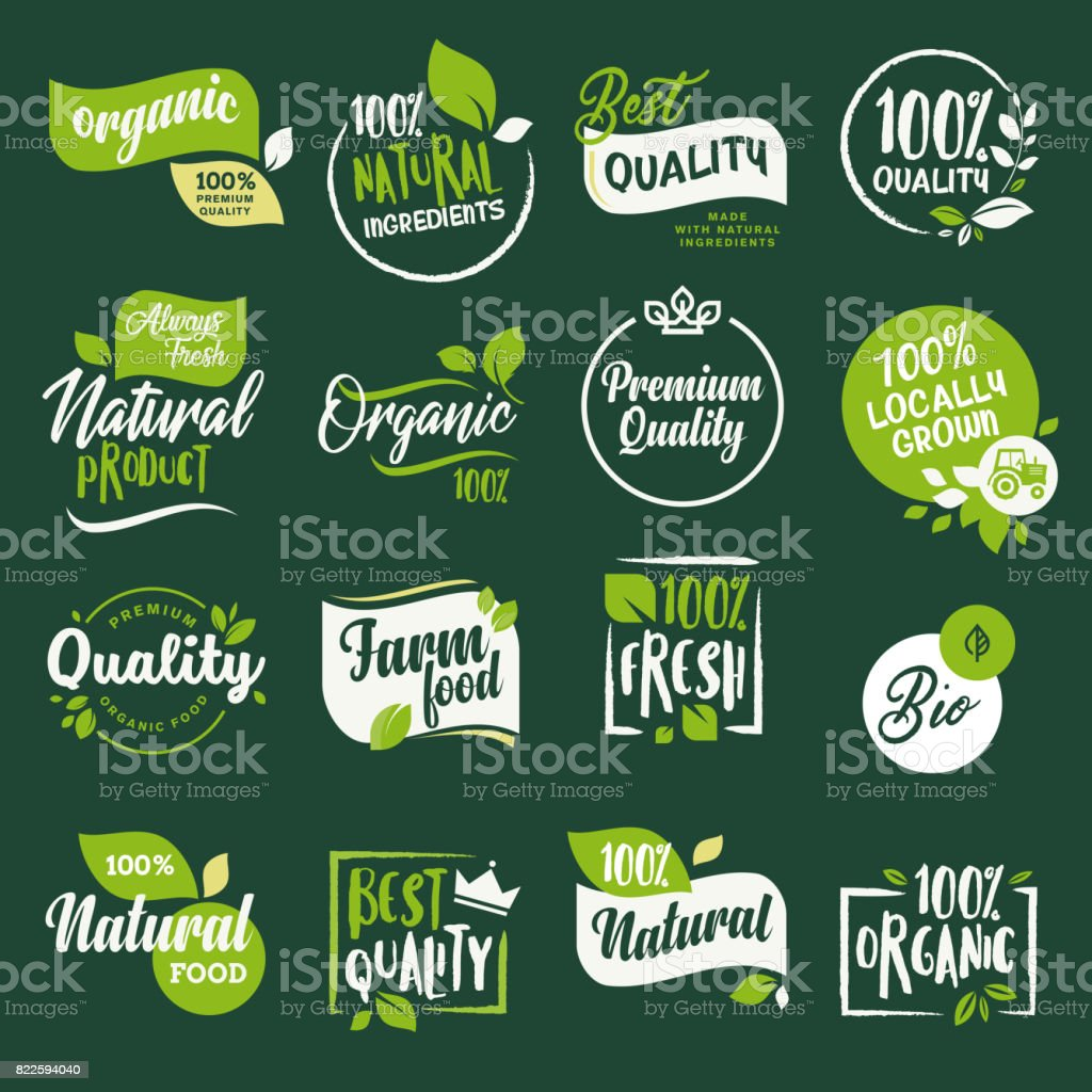 Set of stickers and badges for organic food and drink, restaurant, food store, natural products, farm fresh food,  e-commerce, healthy product promotion. vector art illustration