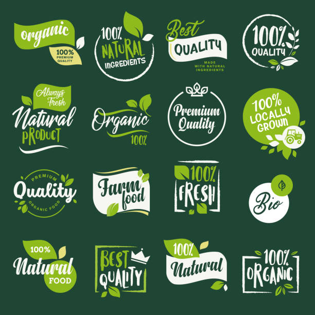 set of stickers and badges for organic food and drink, restaurant, food store, natural products, farm fresh food,  e-commerce, healthy product promotion. - organic stock illustrations, clip art, cartoons, & icons