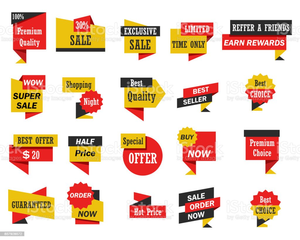 Set of stickers and banners vector art illustration