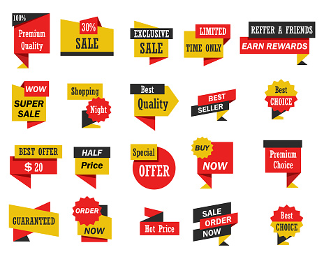 Set Of Stickers And Banners Stock Illustration - Download Image Now