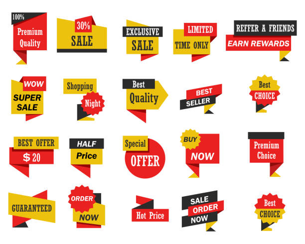 Set of stickers and banners Set of stickers and banners , vector illustration labeling stock illustrations