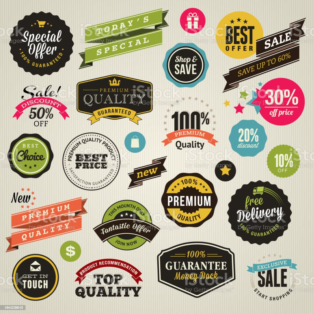 Set of stickers and ribbons vector art illustration